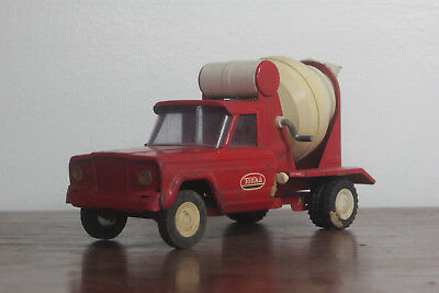 Vintage 1960's Red Tonka Cement Mixer Truck Pressed Steel Toy Working