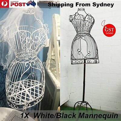 Female Mannequin Metal Vintage Iron Clothes Wire Dress Boutique Holder Display A
