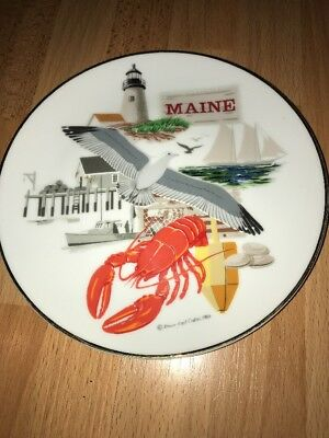Vintage 1983 Down East Crafts MAINE Souvenir Plate Lobster Lighthouse