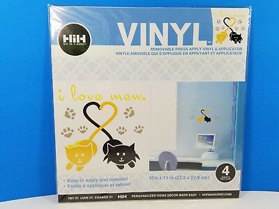 "Hip In a Hurry 2008 ""I Love Mew"" Cats Vinyl Removable Press Apply, New/Unopened"