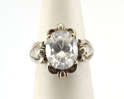 Beautiful Sterling Silver CZ Statement Ring Size 5.5
