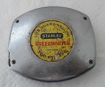 Vintage Life Guard Yellow Stanley Steelmaster 100Ft Tape Measure