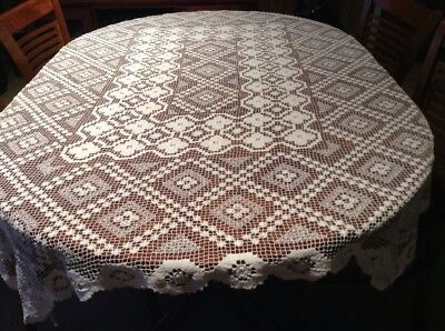 Vintage White Cotton Tuscany Lace Tablecloth Lot 8