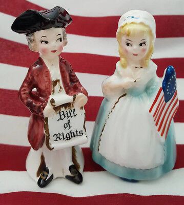 Enesco COLONIAL AMERICANA Betsy Ross & Bill of Rights Boy Salt Pepper Shakers