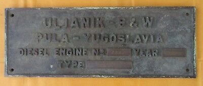 Vintage Ship/Engine Builder Brass ORIGINAL Plaque/Plate ULJANIK B&W