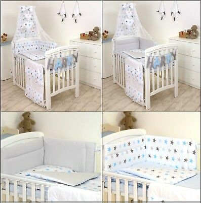 BLUE-GREY STARS/ GREY BACK BABY BEDDING SET COT or COT BED  3,4,5,7,8,9 PC+MORE
