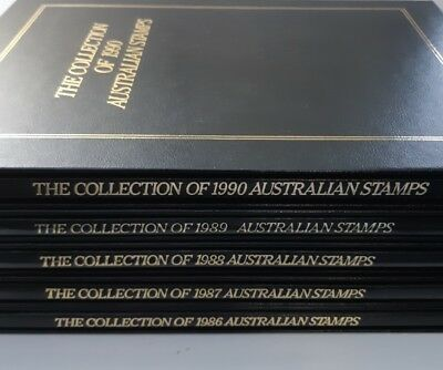 5 x EXECUTIVE Albums Australian Stamps YearBooks No Stamps 86,87,88,89,90