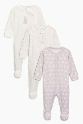 BNWT Next Baby Girls 3 Pack 9-12 Months Lilac Bunny Sleepsuits /Babygrows