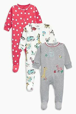 BNWT Next Baby Girls 3 Pack Animal Sleepsuits / Babygrows 0-3 Months