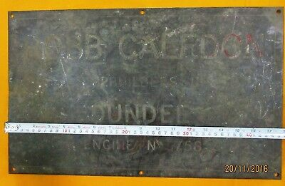 Vintage Ship/Engine Builder Brass ORIGINAL Plaque/Plate ROBB CALEDON