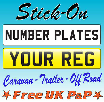 Stick On Number Plate  Self Adhesive Rear Front Caravan Trailer Show Car Sticker