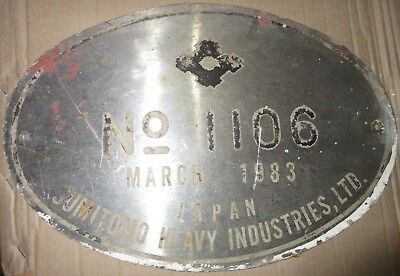 Vintage Ship/Engine Builder Brass ORIGINAL Plaque/Plate SUMITOMO 1983, JAPAN