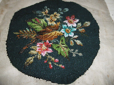 Victorian needlepoint tapestry beadwork floral embroidery good condition