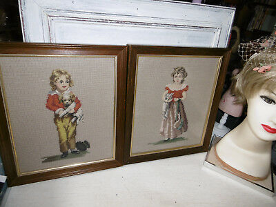 Vintage needlepoint tapestry pictures Victorian girl and boy completed framed