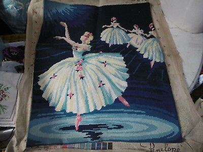 Vintage completed needlepoint tapestry picture Ballet dancers good condition