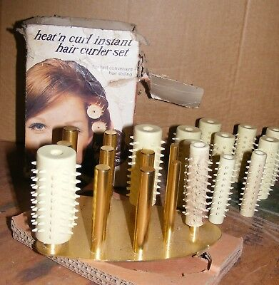 Vintage Lady Sunbeam Heat'n Curl Instant Hair Curler Set-Works On Iron Will Post