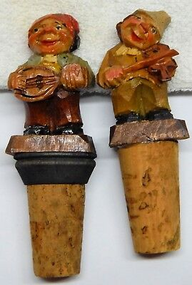 Vintage Pr. Handcarved Wood Wine Bottle Stoppers/Barware Depicting Musicians