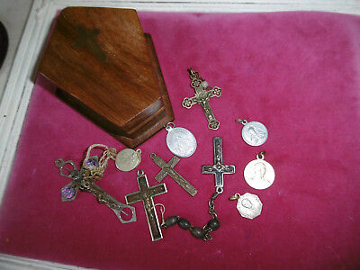 Vintage wooden coffin shaped box with brass cross on lid rosary box