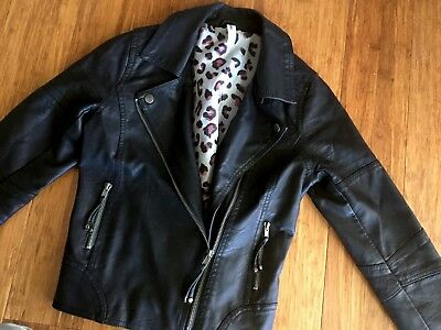 Just Jeans Sz 12 Faux Leather Girls Biker Jacket- Perfect Condition