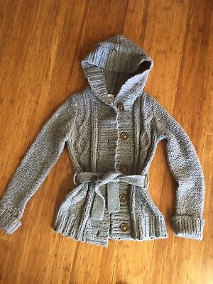 Girls Sz 10 Hooded Cardigan With Belt - Guc