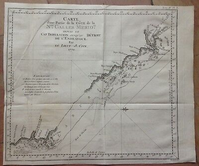 AUSTRALIA NEW SOUTH WALES 1774 JAMES COOK XVIIIe CENTURY ANTIQUE ENGRAVED MAP