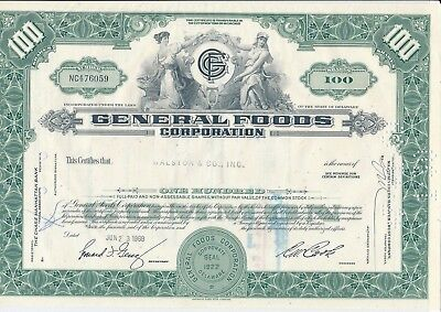 """""""General Foods Corporation"""" 100 Shares 23.6.1969 - common stock - Aktie"""