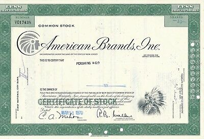 American Brands, Inc. 11.3.1970, 10 Shares ausgest. auf Pershing & Co.