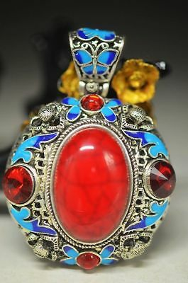 Chinese Silver Copper Hand Inlaid Cloisonne Red Turquoise &zircon Pendant