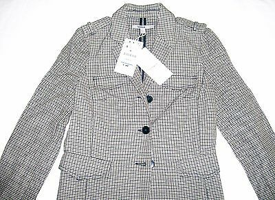 Zara Trafaluc Checked Jacket grey ecru tailored 80% cotton Size S New Tags BNWT