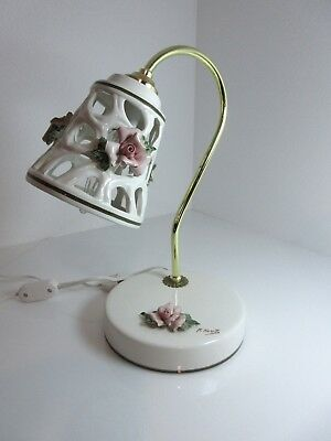 "Capodimonte Pottery Italy DESK LAMP Student GOLD ACCENTS FLOWERS 13"" M. Moretto"