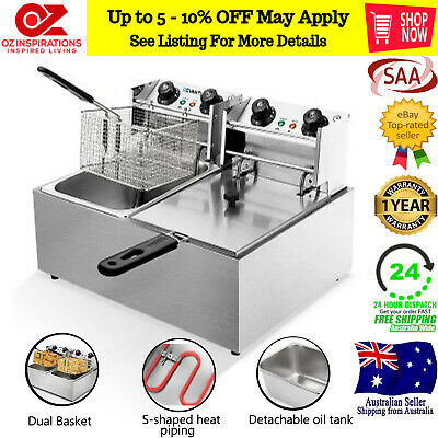 Commercial Electric Quick Heat Twin Double Basket Power Saver Deep Fryer 20L