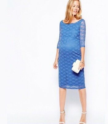 Asos maternity Stretchy Lace Knee Length dress size 12 Blue Used