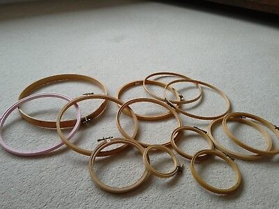 Job lot of Embroidery Hoops x 12 various sizes