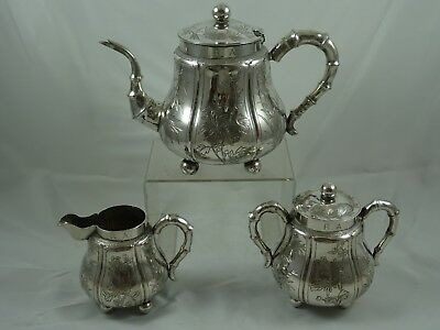 FINE, CHINESE EXPORT, solid silver TEA SET, c1890, 851gm