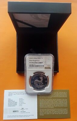 2018 Silver Proof Krugerrand NGC PF70 Ultra Cameo (Perfect Grade) SN 951