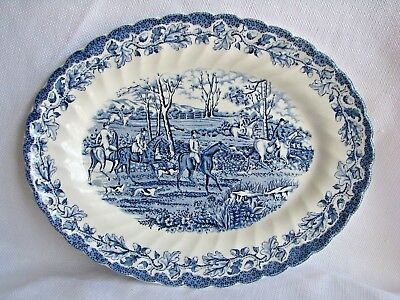 """Myotts Country Life Blue Staffordshire England Platter 11 3/8"""" - Excellent"""