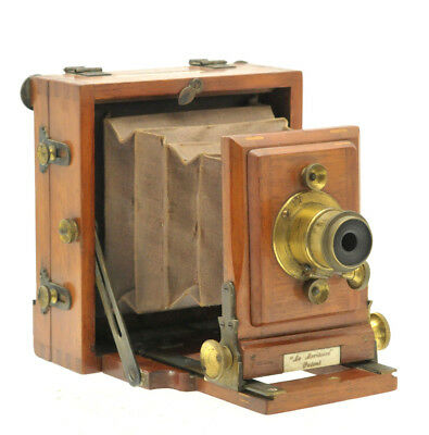 VINTAGE J.LANCASTER & SON 'LE MERITOIRE' BRASS AND MAHOGANY PLATE CAMERA 4x4