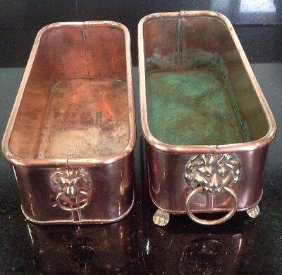Pair Vintage Copper Planters With Brass Lions Head Handles