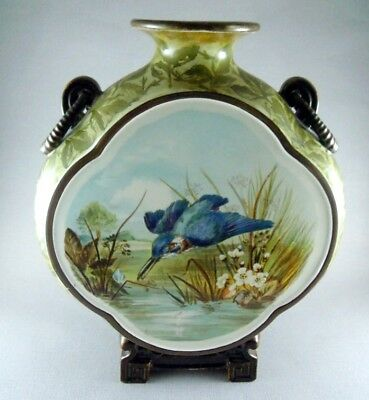 Rare Large Minton Moon Flask / Vase 1842 Kingfisher Finch Hand Painted