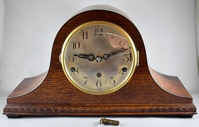 Oak Cased Napoleon Hat Westminster - Whittington Chimes Mantel Clock Working