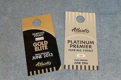Atlantis Casino Reno Nevada Parking Permits (2) for Vehicle Car Motorcycle Signs