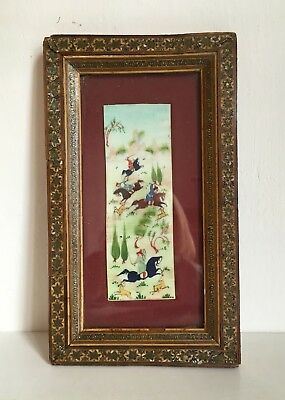 Indo Persian Hand Painted Framed Miniature Depicting Islamic Warriors