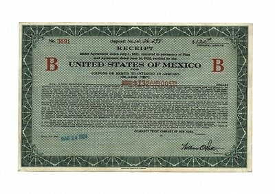 United States of MEXICO – Receipt for Rights, New York, 24.03.1924 !
