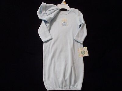 Little Me Baby Boys' Gown and Hat  Light Blue with Bear Design  0-3 Months  NWT
