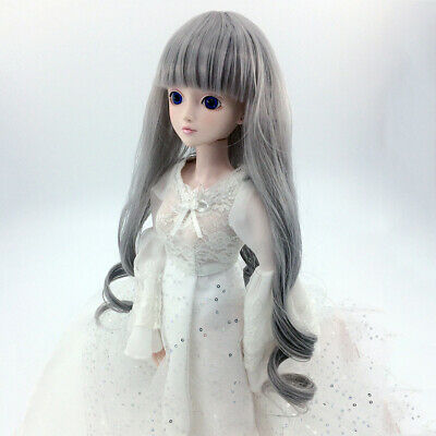 Grey Wave Curly Long Hair Wig Hairpiece Fit 1/4 MSD DZ DOD LUTS BJD Dolls
