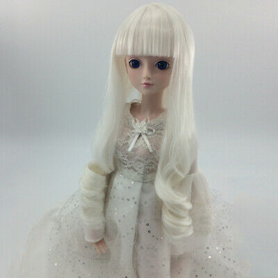 White Wave Curly Long Hair Wig Hairpiece Fit 1/4 MSD DZ DOD LUTS BJD Dolls