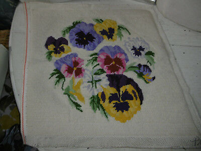 Vintage completed needlepoint tapestry picture pansies very good condition