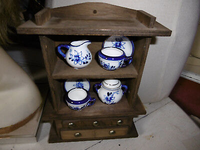 Vintage miniature Welsh dresser ornament with china good condition