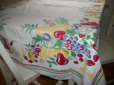 """Vintage 40's 50s Tablecloth Bright Fruit Cherries Pineapple Simtex 63"""" by 52"""""""