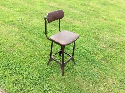 Vtg Industrial Chair Office Factory Architect Metal Stool
